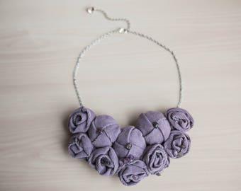 Lilac Statement Bib Necklace Rosette Statement Necklace Fabric Necklace Fabric Jewelry Textile Necklace Necklace Amethyst Bridal Necklace