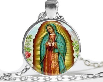 Virgen de Guadalupe pendant necklace, virgin mary,Virgen Maria,,Vigen de Guadalupe,catholic,religious