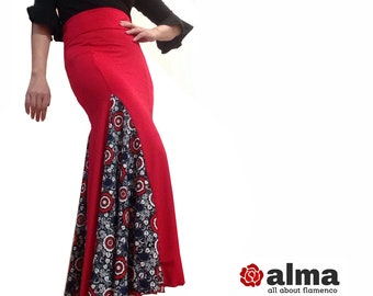 Alma Flamenco Red fishtail skirt floral Strech your size