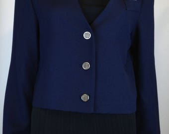 80s/90s - LESLIE FAY - Navy Blue Suit Cropped Jacket - Size 12 - NWT (New Old Stock)