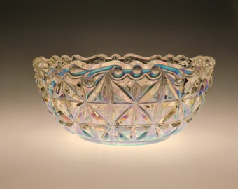 Czech Bohemian Iridescent Art Glass Bowl in box - UNUSED