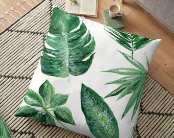 Tropical Leaf Floor Pillow Cover, palm leaf cover, tropical leaf pillow, palm leaf pillow, leaf floor pillow, green floor pillow