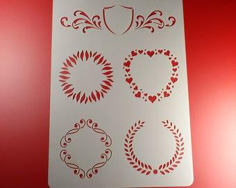 Template laurel wreath Frame heart BO38