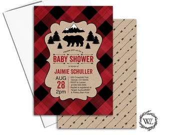 Bear baby shower invitation for boys, buffalo plaid baby shower invite rustic, printable or printed red black kraft, double sided - WLP00862