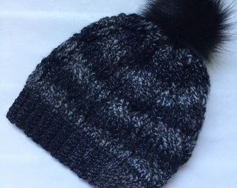 Hand Crocheted Cable Beanie in Shades of Slate