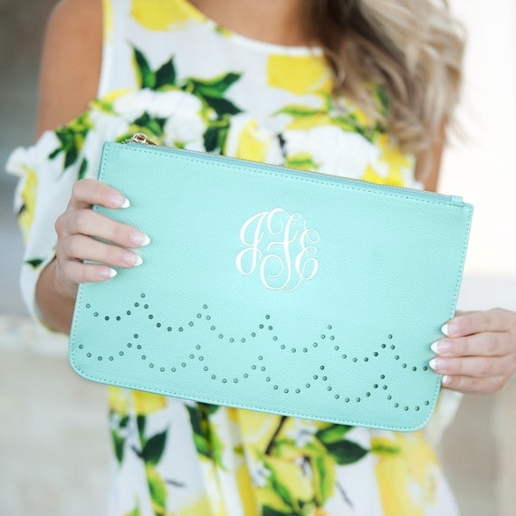 Mint Monogrammed Ava Clutch, Personalized Ava Clutch Purse, Sorority Bags, Bridesmaid Purses, gifts for her