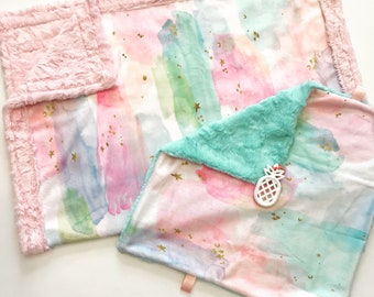 Watercolor designer Minky baby Blanket