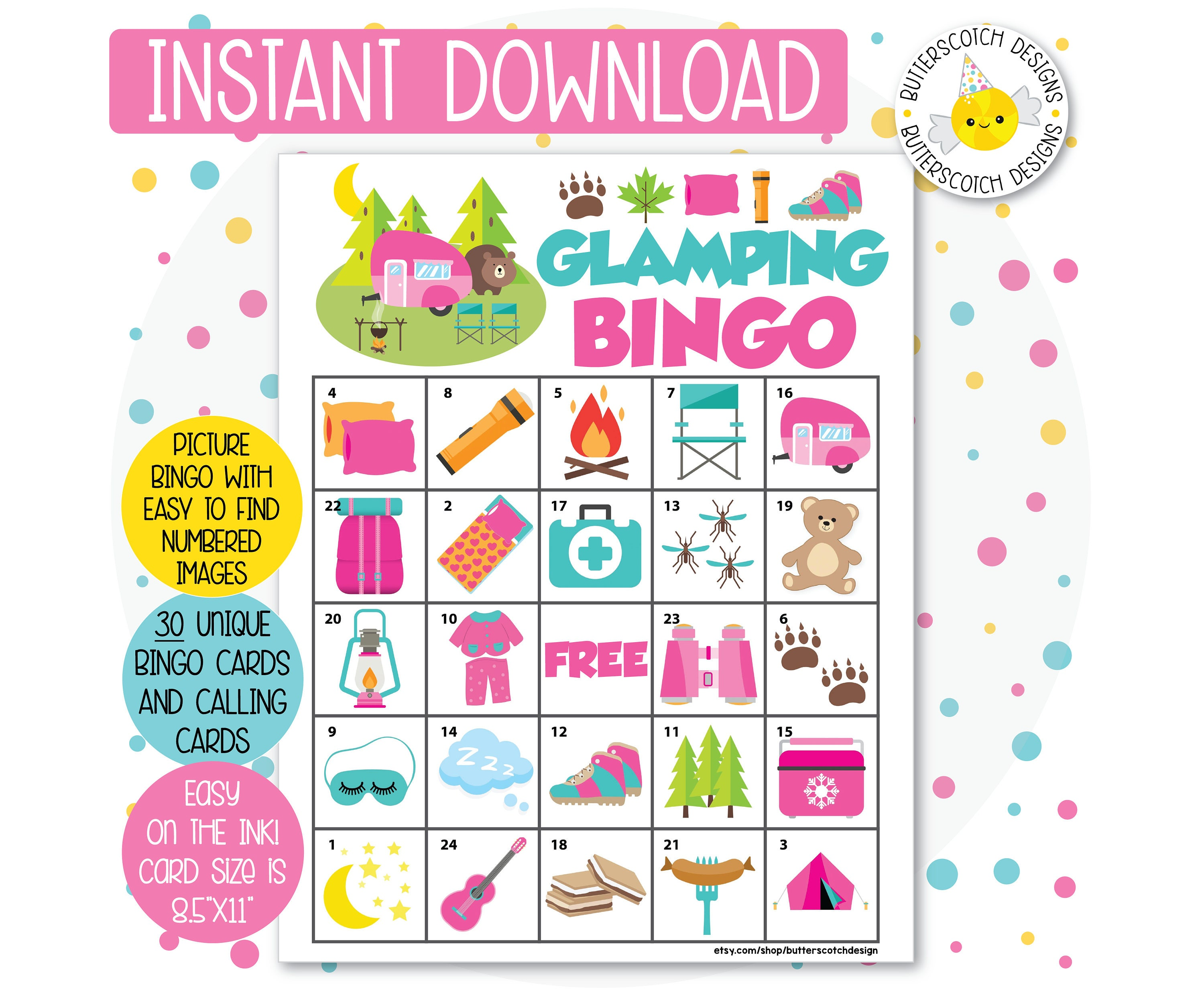Glamping Camping Printable Bingo Cards 30 Different