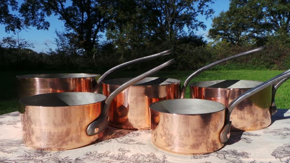 Vintage 1.5-1.7mm Set Five Graduated French Copper Pans Quality Copper Pots and Pans Hand Wiped Tin Linings Superb Condition 5825