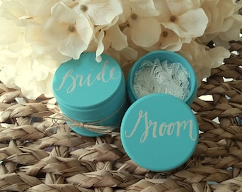 Keepsake Wedding Ring Boxes, Set of Two, Wooden Ring Box, Wedding Gift, Ring Bearer Box, Bride and Groom Ring Boxes with Lace