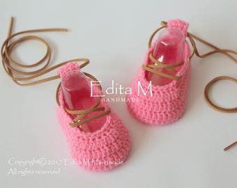 Sale. Crochet baby shoes, baby girl booties, ballerinas, pink shoes, Mary Janes, baby shower, gift for baby girl, announcement, 0-3 months