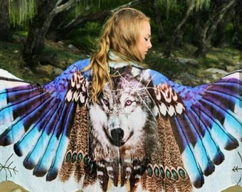 Wolf Scarf  - Husky Gift - Wings - Wing Scarf - Bohemian Clothing - Festival Clothing - Feathers - boho - Beach Dress - Sarong