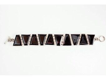 90's Geometric BRACELET // Silver & Black Link // Stamped Mexico
