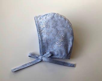 Baby Bonnet // Spring Bonnet// Hat, Baby Hat// Handmade Bonnet// Modern Bonnet// Blue and white floral// Vintage bonnet// Homestead Avenue