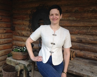 Ladies linen top Linen blouse Made in Thailand Short sleeve pure linen top Summer flax blouse Linen womens blouse
