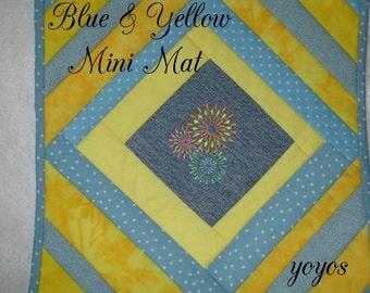 MINI MAT,  Blue, Yellow,  Pieced, Quilt,  Spring,  Summer,  Home Décor,  Table Mat,  Hostess Gift, Teacher Gift, Birthday, Gift for Women