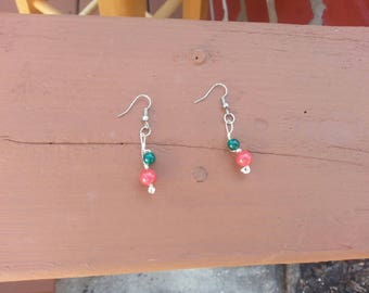 Emerald and  rhodochrosite  healing  earrings