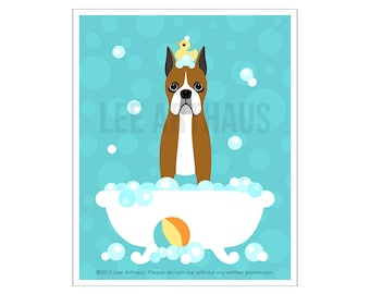 175D Dog Decor - Boxer Dog with Cropped Ears in Bubble Bath Bathroom Wall Art -  Bathroom Wall Decor - Boxer Dog Art - Cute Puppy Drawing