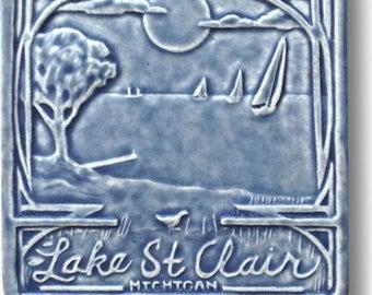 "Lake St. Clair 6x6"" Art Tile free shipping"