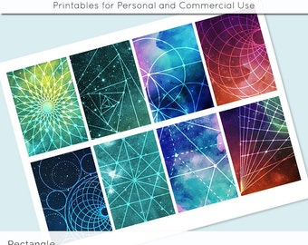 """Space Geometry Digital Collage Sheet 2.5"""" x 3.5"""" Rectangle Images ATC ACEO Magnets Card Jewelry Holder Hang Tag Journaling Scrapbooking"""
