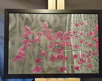 Color Accent, Cherry Blossom Painting, Black and White, Original Acrylic Art, Flower Painting, Pink Flower, Tree Painting, Abstract, Surreal