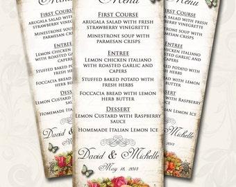 Le Jardin BOUQUET Wedding Menu, Printable Digital Images, Weddings, Parties, Bridal Shower, Baby Shower, Birthday, Wedding Decorations