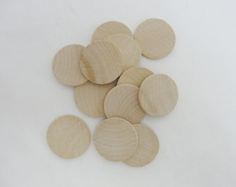 "25 wooden Circles, 1.25"" wooden disc, wood disk 1 1/4"" x 1/8"" thick unfinished DIY"