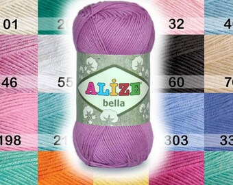Cotton Baby Yarn. Light Weight, Natural Cotton Alize Bella. Colour of your choice. SALE! Colour choice.  DSH