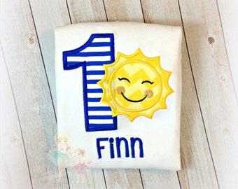 Boys sunshine birthday shirt - sunshine themed 1st birthday shirt - royal blue and yellow sun embroidered shirt - little sunshine shirt