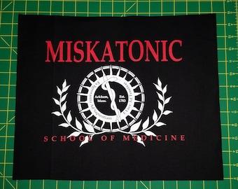 BIG Miskatonic Screen Printed Sew On Punk Patch Back Flag University Med School