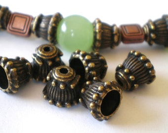 Bronze bead caps 24 Rustic ethnic boho chic