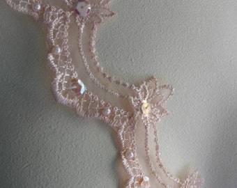 Peach Beaded Lace Trim for Lyrical Dance, Ballet, Bridal, Costume Design BL 4039