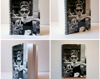 Audrey Hepburn Breakfast at Tiffany Spiral Bound Diary Writing Journal, Blank Sketchbook, Pocket Handmade A6 Cute Notebook, Gifts Under 20