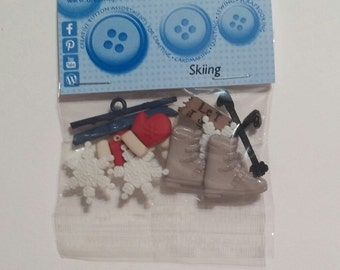 Jesse James Dress It Up Skiing Buttons / Embellishments 13 pcs