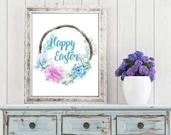 Easter Printable Digital Wall Art - Happy Easter - Succulents