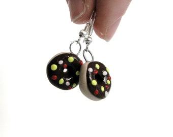 Adorable Chocolate Sprinkle Donut Earrings, Doughnut Dangle Earrings, Kawaii Cute Miniature Food Earrings