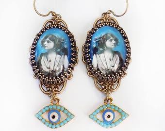 Evil Eye Earrings, Gypsy Earrings, Blue Gypsy earrings, Boho Earrings, Hippie jewelry, boho chic, gypsy chic, protection, pagan, earrings