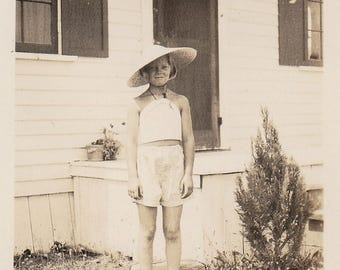 Original Vintage Photograph Snapshot Girl Shorts and Sun Hat 1930s