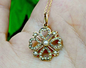 Antique Victorian 15ct 15k Gold Seed Pearl Lucky Clover Flower Hearts Necklace, Art Deco Bridal Jewellery, Something Old, Good Luck Talisman