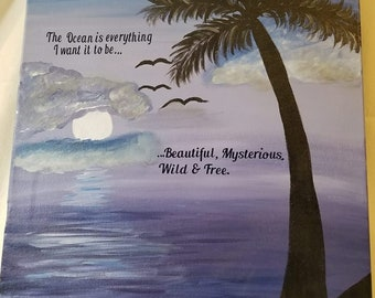 Moon Rising on Ocean Canvas Painting