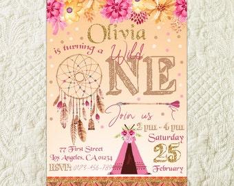 Wild One Birthday Party Invitation, Tribal Birthday Party Invitation, Boho Birthday Party Invitation, Teepee Invitation, Girl First Birthday