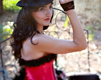 Black Veiled Feathered Top Hat with satin bow for women