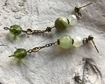 Earrings, green jade