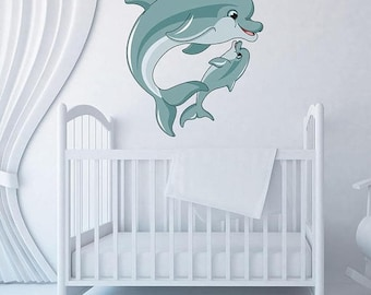20% OFF Summer Sale Mama And Baby Dolphin Wall Decal Set, Sticker, Mural, Vinyl Wall Art
