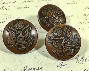 Vintage  bronze U.S. Army buttons set of three C. Kenyon New York Horstman Philadelphia military wear fastener