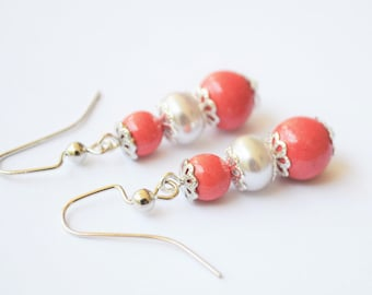 FREE SHIPPING, coral pink earrings, coral earrings, pink coral earrings, coral and silver earrings, pink coral and white pearl earrings
