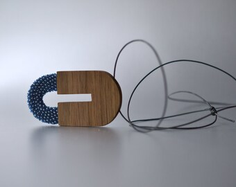 indigo Pendant wood and glass beads