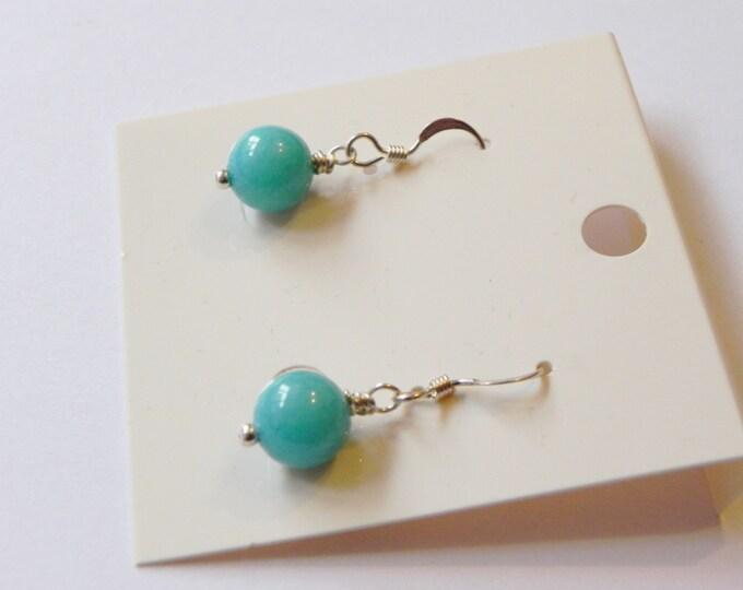 Turquoise chalcedony sterling silver gemstone drop earrings