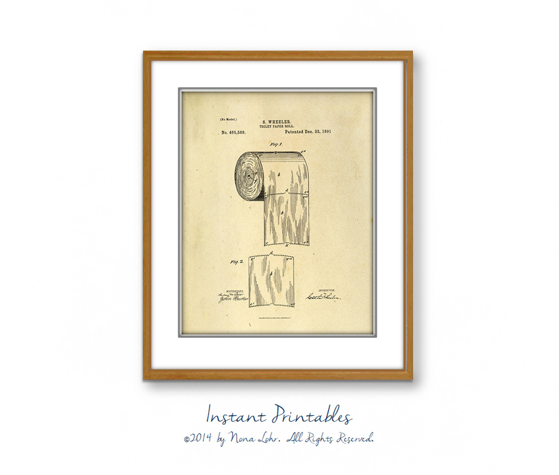 Verkauf Vintage Toilettenpapier Patent Druck alte Wand Dekor