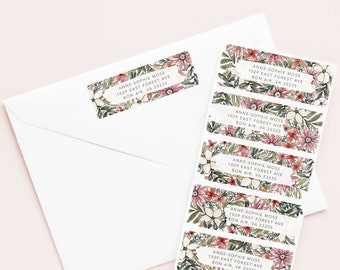 Wildflower Personalized Address Labels, Custom Return Address Labels Set of 30 with Hand Painted Florals